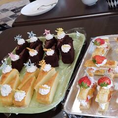 法事/ガトーショコラ/ミルフィーユ/苺/手作り/ケーキ 父の法事の時にお客様用に作ったケーキです…