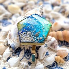 hawaii/ブルー/海/海辺/貝殻/星の砂/... 卵の殻から作る「エッグシェルモザイク」💖…
