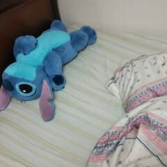 ここが好き ベッドの上でスティチとごろごろする空間が…
