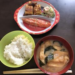 美味しかったよ/朝食/和食ご飯/初めてごはん/家庭科宿題/食事情 息子の初めての家庭科の調理実習の宿題(*…