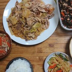 ごはん/おうちごはん 今夜は、白菜と豚肉の中華炒め。ヒジキの煮…