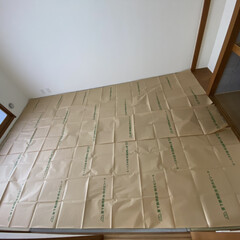 防ダニシート/クッションフロア/和室から洋室/DIY 和室をクッションフロアで洋室にしてみまし…