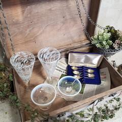 アンティークスプーン/デザートカップ/吹きガラス お気に入りの吹きガラスのコップとデザート…