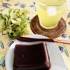 おうちじかん/ホッと一息/お茶の時間/手作り/水羊羹/冷茶/... お茶タイム  今日は暑さもあって、 外に…