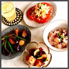 お家ご飯/晩ごはん/タコ飯/手作り/暮らし/寛ぎの時間 晩ごはん  今日は、お魚屋さんで タコと…