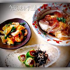 スタミナ丼/夏に向けて/スタミナご飯/スタミナ飯/スタミナ盛り 今夜のおかずは、 鯛の兜煮 海老、卵、ニ…