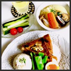 お家ご飯/晩ごはん/暮らし/手作り/寛ぎの時間 晩ごはん  メカジキのステーキ (ガーリ…
