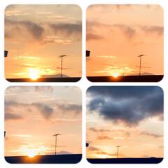 空/夕陽/夕陽が沈むまで/一日の終わり/お疲れさま/窓からの夕陽 今空 8/3   18:20 夕陽が沈ん…
