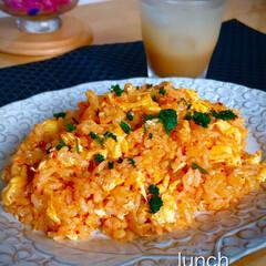 lunch/昼ごはん/キムチ炒飯/残り物/節約/暮らし lunchは、残り物整理でキムチ炒飯 と…