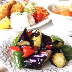 お家ごはん/晩ご飯/手作り/野菜たっぷり食べよう/寛ぎの時間/暮らし/... 晩ご飯  牡蠣フライ、生野菜 茄子とピー…
