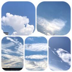 空/雲/色んな形の雲/暮らし/ベランダから見る雲 ヤッパリ、まだまだ暑い💦 エアコンのお世…
