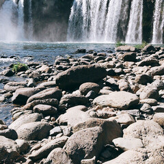 お出かけ/原尻の滝/滝にかかる虹/吊り橋/秋晴れ 今日は、大分の原尻の滝を 見てきました。…(3枚目)