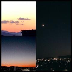 夕焼け/夜空/一日の終わり 昨日の夕暮れと、月 綺麗な空でした。 🌇…