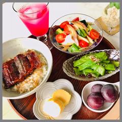お家ごはん/晩ごはん/手作り/お米好き/野菜好き/暮らし 晩ごはん  鰻蒲焼丼 豆腐サラダ (豆腐…