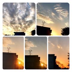 空/雲/夕焼け/夕暮れ/夕陽 日が沈むまで🌇  洗濯物を取り込んでいる…