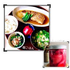お家ご飯/朝ごはん/手作り/もち麦入ご飯/ほうれん草お浸し/赤かぶの甘酢漬け/... 今日も、良いお天気 ですね😊 昨日作った…