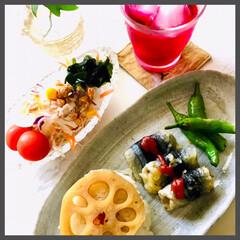 お家ごはん/朝ごはん/お米好き/暮らし/節約 朝ごはん  蓮が美味しい季節、 甘辛に煮…
