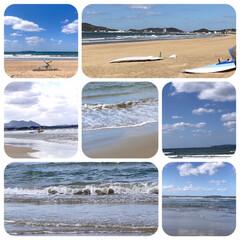福間海岸/旅行/お出かけ/海/波/空 こんばんは🌙  今日は、朝から青空。 海…