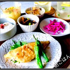 お家ごはん/朝ごはん/和食/手作り/レモン水/もち麦ご飯/... 朝ごはん  ご飯が1番落ち着く我が家 今…