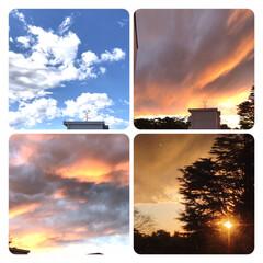 空/夕暮れ 今日の昼の青空と、 今空 17:10頃 …