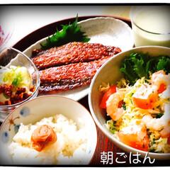 朝ごはん/暮らし 今日の朝ごはんは、 サンマの味醂干し サ…