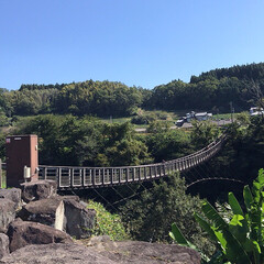 お出かけ/原尻の滝/滝にかかる虹/吊り橋/秋晴れ 今日は、大分の原尻の滝を 見てきました。…(6枚目)