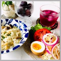 お家ごはん/朝ごはん/リゾット/紅茶卵/手作り/お米好き/... 朝ごはん  疲れた胃をリセット キノコと…