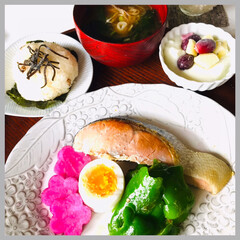 お家ごはん/朝ごはん/手作り/お米好き/野菜好き/焼魚定食/... おはようございます🌱 スッキリしないお天…