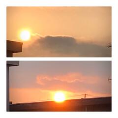 夕陽/沈む夕陽/夕焼け/癒し/暮らし 今空 18:10 お洗濯を取り入れている…