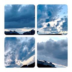 空/雲/夕暮れ 今空 19:00 紺色の雲とうっすらと …