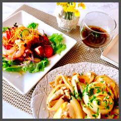 お家ご飯/晩ごはん/おかず三品/手作り/暮らし/ヘルシー 今日の晩ご飯  揚げたお豆腐と野菜の ガ…