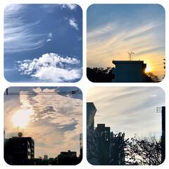 空/雲/夕暮れ/夕焼け/景色 今日の午後の空。 もう、夕日が沈みます。…
