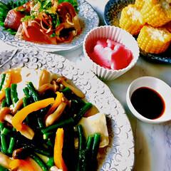 晩ごはん/お家ごはん/暮らし/節約 晩ごはん  カツオのお刺身 お豆腐の野菜…