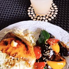 茄子味噌炒め/ブリ照り焼き/朝ごはん/暮らし 今日の朝ごはん  最近はまってる  ご飯…