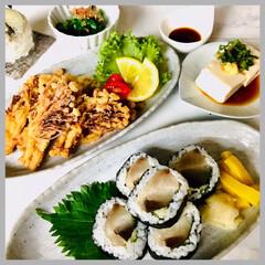 晩ごはん/お家ごはん/手作り/お米好き/野菜好き/節約/... 昨日の晩ごはん🍚  しめ鯖海苔巻き えの…