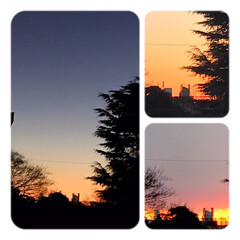 空/夕暮れ/夕焼け/日没 こんばんは⭐️ 今日の夕暮れの風景。 日…(1枚目)