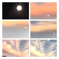 満月/早朝の月/早朝の空と月/赤い雲/早起き おはようございます。  今朝4時半頃の月…