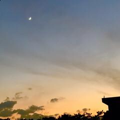 空/夕暮れ/夕焼け/夕焼けと月/窓からの眺め/暮らし/... 今空 12/18(金) 夕焼けと月🌇🌙 …