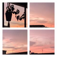 空/夕暮れ/ピンクの空/夕焼け/部屋からの景色/暮らし 18:40 移り変わりの 激しい今日の空…