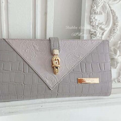 DIY/革/長財布/シャビーシック/紫/型押し ~Leather wallet~  紫系…