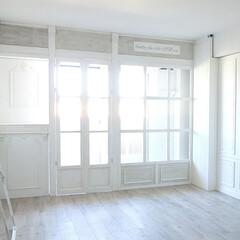 シャビーシック/DIY/賃貸マンション/フレンチシック/ホワイトインテリア/扉/... 扉つきのこちらで、気になるベランダを 隠…