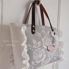 シャビーシック/DIY/制作/グレー/Rose フランス*ティキングでbag制作**  …