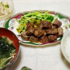 サイコロステーキ/有り難い/夕食/晩ご飯/おうちごはん/肉食/... 子供が好きな サイコロステーキ  柔らか…