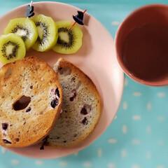 コストコ/ベーグル/おうち時間/柚子はちみつ/朝食/無印良品 私の朝食🍴( ¨̮  )✩  娘がコスト…(1枚目)
