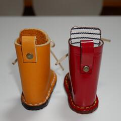 レザークラフト/DIY/雑貨/ハンドメイド 長靴みたいなブーツ  実は少し大きいんで…(3枚目)