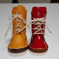 レザークラフト/DIY/雑貨/ハンドメイド 長靴みたいなブーツ  実は少し大きいんで…