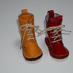 レザークラフト/DIY/雑貨/ハンドメイド 長靴みたいなブーツ  実は少し大きいんで…(5枚目)