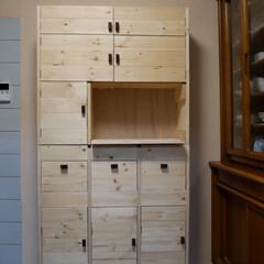 DIY/キッチン収納/収納/ハンドメイド/LIMIAベスト収納2019/キッチンDIY キッチンの棚 ついに完成。 全てを扉の中…