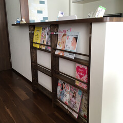 絵本棚/本棚DIY/DIY/収納 カウンター下の本棚  設置完了❗️  ジ…