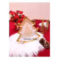 クリスマスインテリア/クリスマスツリー/クリスマス雑貨/自宅サロン/写真映え/ポーセラーツ/... 最初のアップは私が最近にスキルアップレッ…